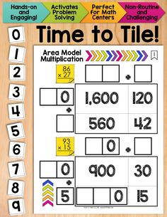 Time to Tile: Area Model Multiplication.  Hands-on, tactile, engaging!  Ditch the worksheets and get your students actively thinking with math tiles! $