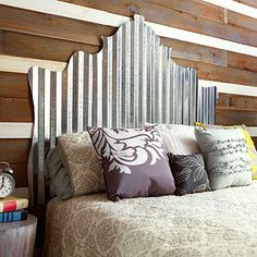 """Industrious Headboard Corrugated metal headboard for a boys room, I'd use construction ashes ice to attach metal to a plywood backing and maybe even try to figure out how to """"frame"""" it in some fashion so no sharp edges"""
