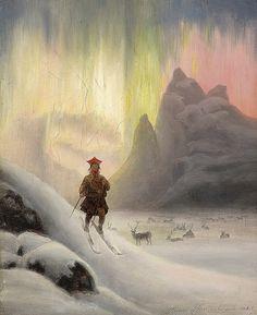Sami on skis in northern lights, by Frants Bøe, 1885. Samisk mann på ski i nordlyset - aurora borealis.