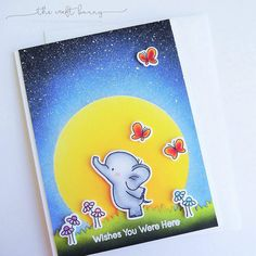 """""""Really stretched this elephant from #mftstamps. Today he's feeling lonely because he misses his friend back home. More details on the blog #cards…"""""""