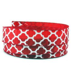 Moroccan Print Crimson and White Satin Wired Ribbon 9 - 1.5in x 10yards -- See this great product.