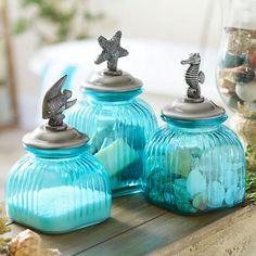 Blue Glass Coastal Canisters, Set of 3 | Kirklands