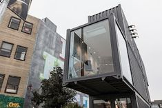Aether Apparel Stacked Shipping Container Store in San Francisco Container Van, Container House Design, Container Office, Shipping Container Store, Shipping Containers, Silo House, Prefab Buildings, Waterfall House, San Francisco