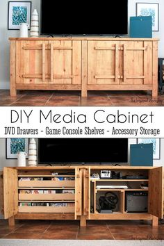 DIY TV Stand - Media Console - This extra large tv stand media cabinet can hold all the gaming and movie watching goods! This DIY media console has enough room to hold over 300 DVDs, all your gaming consoles, and plenty of accessories as well! And if you don't have room for a large media cabinet, I've got you covered with the free plans for a small DIY media console which is half the size but still large on storage and organization! Rental Home Decor, Rental Decorating, Diy Home Decor, Industrial Office Design, Modern Office Design, Office Designs, Diy Furniture Plans, Diy Furniture Projects, Wood Projects