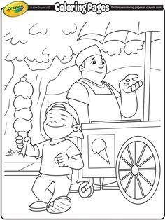 Ice Cream Vendor Coloring Page