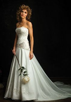 satin a-line strapless with applique and beads floor-length wedding dress