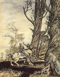 """How Sir Launcelot slew the knight Sir Peris de Forest Savage that  did distress ladies, damosels, and gentlewomen"" by Arthur Rackham"