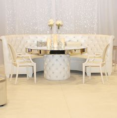 Regal Banquette With Crystal Tufted Back And Matching Round Table With  Mirror Top And Base