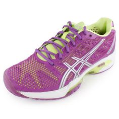 The ASICS Women's Gel Solution Speed 2 Tennis Shoes provide the same low-profile sole as its predecessor but features a more flared lateral forefoot for added stability, offering the best in lightweight technology.Upper: Full-length Flexion Fit uppers provide form-fitting comfort without sacrificing support. P.H.F. (Personal Heel Fit) features memory foam lined heel collar for comfort and a personalized fit #tennisshoes #asics #tennisshoes #womensfootwear