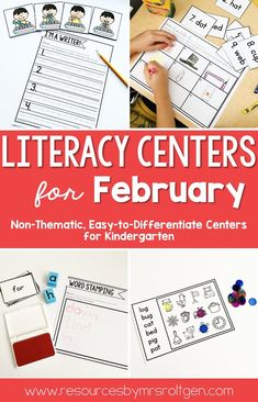 Check out these February Literacy Centers Activities for your Kindergarten students. Centers include; Sight Word: sight word stamping, magnetic letter word building, bead stringing & rainbow writing; Sort it out, Letters & Sounds, Literacy Spotlight: CVC word distinguishing cards, scrambled sentences, CVC word find-it mats & roll-a-word; & I'm a Writer: Fix-it-Up sentences. Use these for your Kinders during stations, review, early or fast finishers or for gifted & talented education {Gate}.