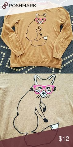 Fox Sweater Super cute one of a kind sweater featuring a bespectacled fox. Old Navy Sweaters Crew & Scoop Necks