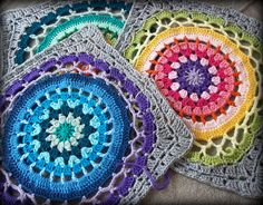 Transcendent Crochet a Solid Granny Square Ideas. Inconceivable Crochet a Solid Granny Square Ideas. Crochet Mandala Pattern, Crochet Motifs, Crochet Blocks, Crochet Squares, Crochet Stitches, Crochet Patterns, Granny Squares, Crochet Crafts, Crochet Projects