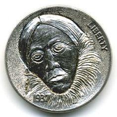 Steve Ellsworth - Atchaga Hobo Nickel, Coin Art, Buffalo, Coins, Carving, Rooms, Wood Carvings, Sculptures, Printmaking