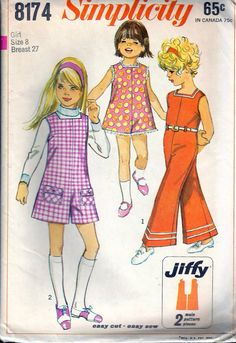 """Vintage 1969 Simplicity 8174 Child's & Girls' Jiffy Pantjumper in Two Lengths Sewing Pattern Size 8 Breast 27""""  UNCUT"""