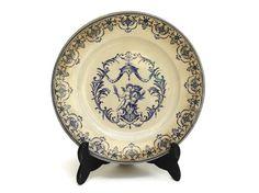 Antique French Cherub Wall Plate by Vieillard Bordeaux.