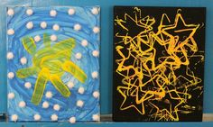 Daytime sky and nighttime sky art for preschoolers - a great way to extend knowledge about the differences between night and day! Opposites Preschool, Preschool Themes, Preschool Science, Preschool Activities, Toddler Art, Toddler Crafts, Light Vs Dark, Nighttime Sky, Kindergarten Art