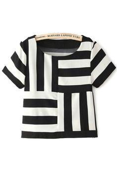 Unique Contrast Striped Tee - OASAP.com