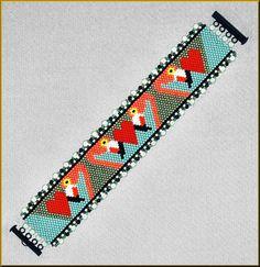 Croquet Anyone Flamingo Peyote Bracelet Pattern by Kristyz on Etsy Peyote Stitch Patterns, Bead Loom Patterns, Jewelry Patterns, Bracelet Patterns, Beading Patterns, Beaded Earrings, Beaded Jewelry, Seed Beads, Bead Jewelry