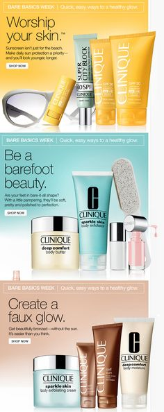 Nice email series- Clinique, Bare Basics Week