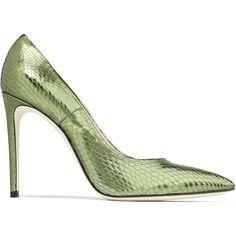 Casadei Metallic snake-effect leather pumps featuring polyvore, women's fashion, shoes, pumps, leaf green, heels stilettos, casadei pumps, leather pointed toe pumps, slip-on shoes and leather slip on shoes