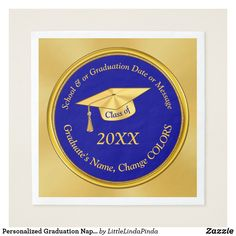 Shop Personalized Graduation Napkins, Your Text, Colors Napkins created by LittleLindaPinda. Personalize it with photos & text or purchase as is! Graduation Party Supplies, Graduation Invitations, Personalized Graduation Gifts, Ecru Color, Make Color, School Colors, Paper Napkins, My Design, Change