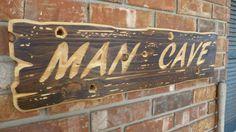 Man Cave Wooden Sign Garage Unique Aged Bullet holes Decor Wood Hunt Game room