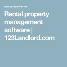 Rental property management software | 123Landlord.com