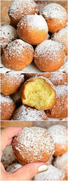 Soft and fluffy, scrumptious doughnut holes made with ri… Easy Ricotta Doughnuts! Soft and fluffy, scrumptious doughnut holes made with ricotta cheese. from willcookforsmiles… Just Desserts, Delicious Desserts, Yummy Food, Gourmet Desserts, Beignets, Donut Recipes, Baking Recipes, Bolo Original, Ricotta Cheese Recipes