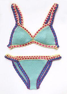 Baumwolle Verschieden Bikini Häkelbikini  Handarbeit Häkel bikini
