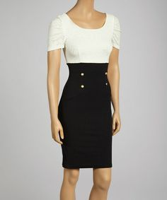 Loving this Black & White Color Block Sheath Dress - Women on #zulily! #zulilyfinds