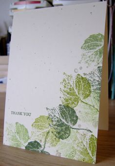 Stampin' Up! .... handmade card from Furry Tale Cards and Crafts: Three Shades of Green ... one layer ... leaves tumbling down one side and collecting at the bottom .. luv the soft tones and partial impressions evoking real leaf stamping ...
