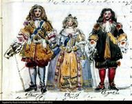 Prince Albert, Queen Victoria and Prince Charles of Leiningen in their costumes for the Stuart Ball.  Watercolour by Queen Victoria, from Queen Victoria's Journals.