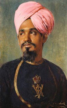 Portrait of Sheikh Chidda, 1893 by Rudolf Swoboda (1859-1914) | Royal Collection Trust......Sheikh Chidda is wearing Indian court costume.