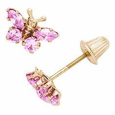 Pink CZ Butterfly Kids Earrings