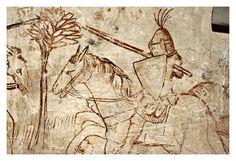 Sinopie di affreschi tardo-gotici perduti, raffiguranti Scene di Caccia e Eremiti nel deserto, XV secolo. Firenze #TuscanyAgriturismoGiratola