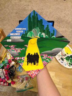 """High School Graduation Cap Decoration Ideas Unique Wizard Of Oz"""" Grad Cap Idea Diy Disney Graduation Cap, Funny Graduation Caps, Graduation Cap Designs, Graduation Cap Decoration, Graduation Diy, Grad Cap, High School Graduation, Graduate School, Graduation Dresses"""
