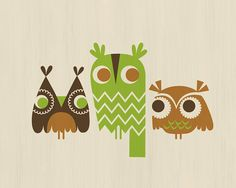 three owls from The Paper Nut