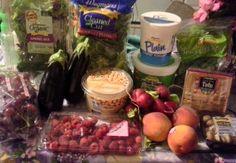 Shopping trip. Organic field mix, broccoli, plain low fat yogurt, cottage cheese, Brussels sprouts, red grapes, eggplants, hummus, organic radishes, tofu, raspberries, peaches & baby bella mushrooms.