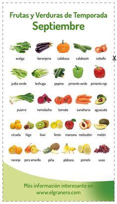 #frutas y #verduras de temporada del mes de #septiembre