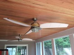 Vinyl beadboard porch ceiling installation httplongviews hampton bay escape 68 in brushed nickel indooroutdoor ceiling fan 34314 mozeypictures Image collections
