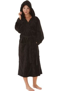Del Rossa Womens Classic Fleece Hooded Bathrobe Robe 1142f5f14