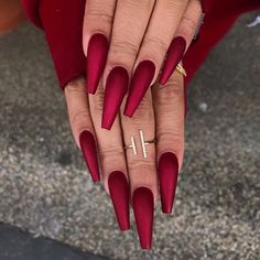 Your nails will appear fabulous! In general, coffin nails are also thought of as ballerina nails. Cute pastel orange coffin nails are amazing if you want to continue to keep things chic and easy. Marble nail designs are perfect if… Continue Reading → Red Matte Nails, Dark Red Nails, Coffin Nails Ombre, Red Acrylic Nails, Glitter Nails, Acurlic Nails, Long Red Nails, Acrylic Art, Holiday Acrylic Nails