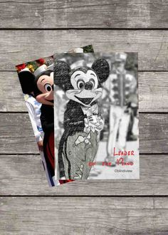 """Disney Mickey Mouse Sketch """"Leader of the Band"""" - Wallpaper for Tablet, Cell Phone - Download Black-&-White w/Red Letters - 4x6 Photo by BlindiView on Etsy"""