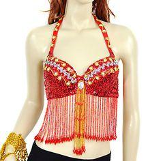 Desempenho Dancewear Chinlon com Beading Sequins Belly Dance Top For Ladies (mais cores) – BRL R$ 60,17
