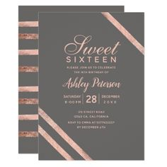 Rose gold typography stripes grey Sweet 16 Card