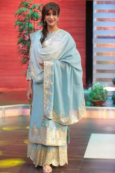 Lakshmi Manchu wearing an outfit by Sukriti and Aakriti and earrings by Sangeeta Boochra Indian Wedding Outfits, Pakistani Outfits, Indian Outfits, Elegant Outfit, Elegant Dresses, Nice Dresses, Indian Attire, Indian Wear, Indian Bridal Lehenga