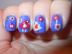 Nails byThe Polished Momma: Spring Birds and flowers nail art. Very cute I would probably use a baby blue for the background