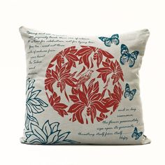 """Bade Sabaa"" Cushion - Red & Navy Blue - Design by Moji Salehi Cushions, Blue Living Room, Contemporary Pillows, Red And Grey, Grey Cushions, Printed Cushions, Owl Pillow, Navy Blue Design, Blue Pillows"