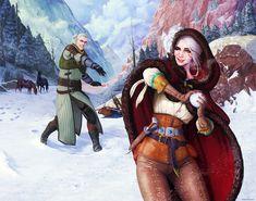 Witcher - Geralt and Ciri - Midwinter Celebration by ghostfire.deviantart.com on @DeviantArt