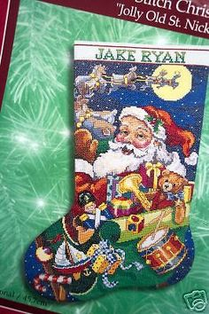Christmas Bucilla Counted Cross Stitch Stocking Kit,JOLLY ST. NICK,Santa,Gillium | eBay!